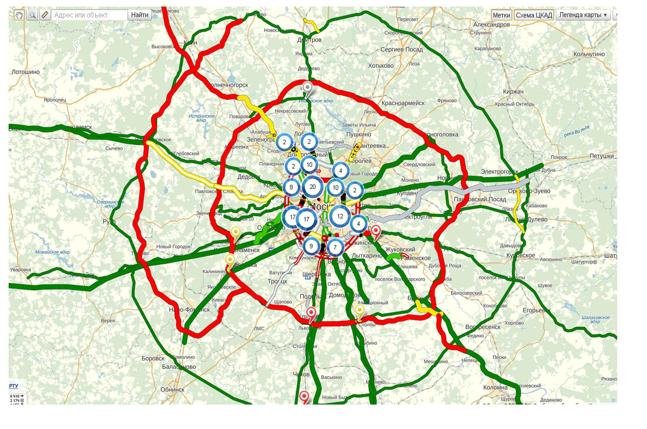 Схема кольцевой автомобильной дороги