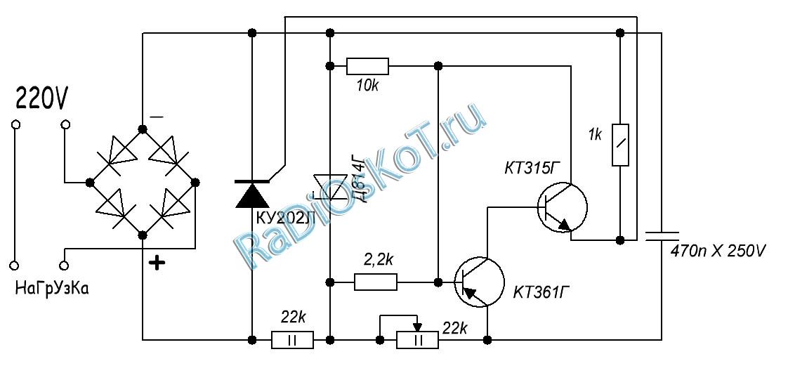 Схема тиристора т122-25